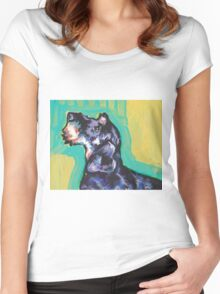 Dachshund Dog Bright colorful pop dog art Women's Fitted Scoop T-Shirt
