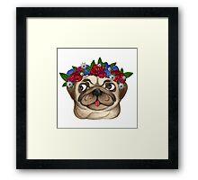 Flowery Pug Framed Print