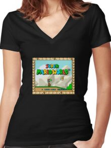 Super Mario World title screen Women's Fitted V-Neck T-Shirt