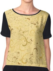 Floral in Shades of Gold, Cream and Brown Chiffon Top