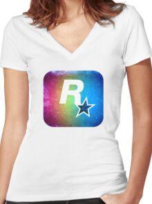 °GEEK° Rockstar Rainbow Women's Fitted V-Neck T-Shirt