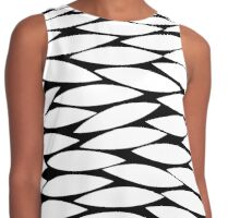 Abstract Leaf Design - White on Black Contrast Tank