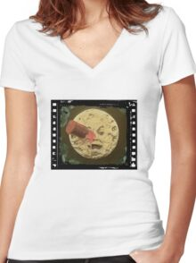 Vintage Trip to the Moon colour Women's Fitted V-Neck T-Shirt