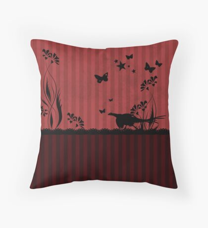 Pheasant and Butterflies VRS2 Throw Pillow