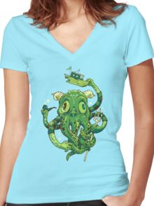 Sir Charles Cthulhu Women's Fitted V-Neck T-Shirt