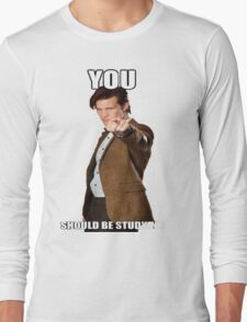 Eleventh Doctor-Studying Long Sleeve T-Shirt