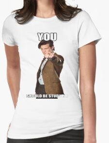 Eleventh Doctor-Studying Womens Fitted T-Shirt
