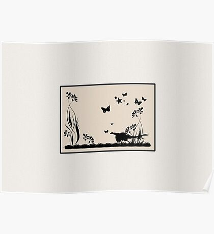 Pheasant and Butterflies VRS2 Poster