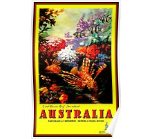 """AUSTRALIA GREAT BARRIER REEF"" Travel Print Poster"