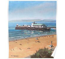 Bournemouth Pier summer morning from cliff top Poster