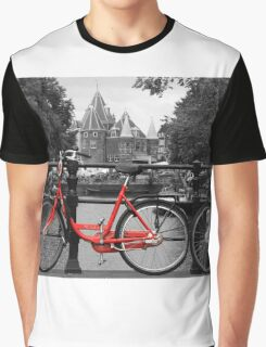 Red Bicycle By The Canal  Graphic T-Shirt