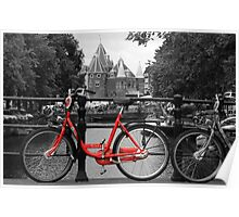 Red Bicycle By The Canal  Poster