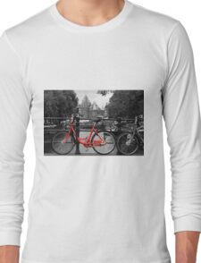 Red Bicycle By The Canal  Long Sleeve T-Shirt