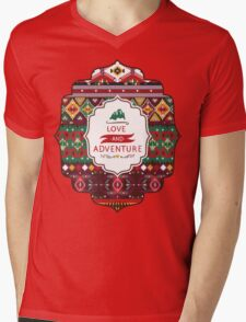 Navajo colorful  tribal pattern with geometric elements Mens V-Neck T-Shirt