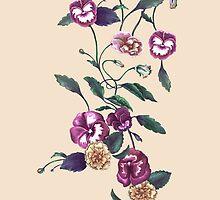 Pansies and Peonies on Ecru by ThistleandFox