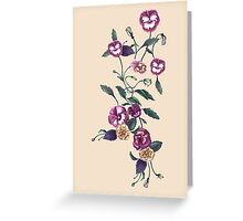 Pansies and Peonies on Ecru Greeting Card