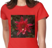 One Very Red Orchid Cactus Bloom - Delicate, Luminous and Elegant Womens Fitted T-Shirt