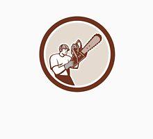 Lumberjack Tree Surgeon Arborist Chainsaw Circle Retro Unisex T-Shirt