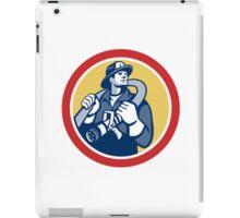 Fireman Firefighter Holding Fire Hose Retro iPad Case/Skin