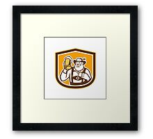 Bavarian Beer Drinker Mug Shield Retro Framed Print