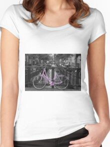 Pink Bicycle By The Canal Women's Fitted Scoop T-Shirt