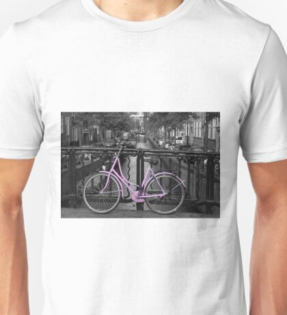 Pink Bicycle By The Canal Unisex T-Shirt