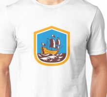 Sailing Ship Galleon Crest Retro Woodcut Unisex T-Shirt
