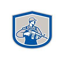 Soldier Military Serviceman Rifle Side Crest Retro by patrimonio