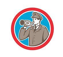 Soldier Blowing Bugle Circle Retro by patrimonio