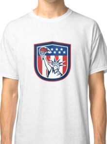Statue of Liberty Holding Flaming Torch Shield Classic T-Shirt