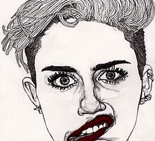 Miley with Red Lips by Paul  Nelson-Esch