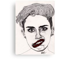 Miley with Red Lips Canvas Print