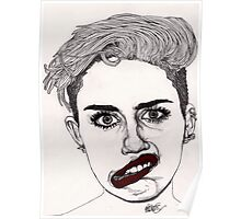 Miley with Red Lips Poster