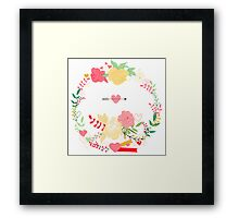 peonies wreath Framed Print