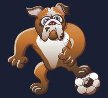 Bulldog Preparing to Kick a Soccer Ball Kids Tee