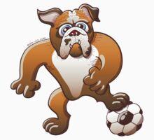 Bulldog Preparing to Kick a Soccer Ball Kids Tee