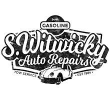 Witwicky's Auto Garage (black design) Photographic Print