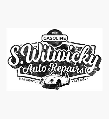 Witwicky's Auto Garage (black design) Photographic Print