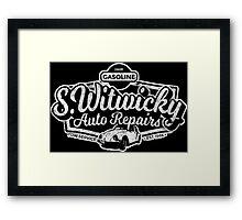 Witwicky's Auto Garage (white design) Framed Print