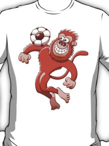 Monkey Trapping a Soccer Ball with its Chest T-Shirt