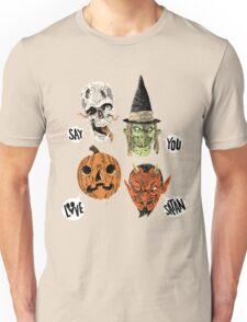Say You Love Satan 80s Horror Podcast Logo 2 Unisex T-Shirt