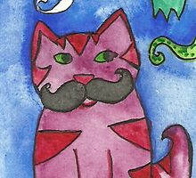 Cat with moustache by fairychamber