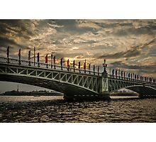 Sunset over Trinity Bridge, Saint Petersburg Photographic Print