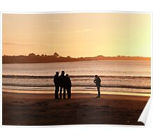 Silhouettes on Long Beach!  'Robe' Limestone Coast. S.Aust. Poster