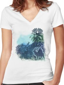 spirits of the forest Women's Fitted V-Neck T-Shirt