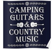 Camping Guitars Country Poster