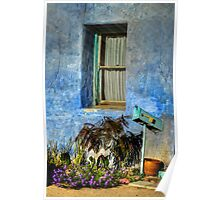 Blue Stucco Window Poster