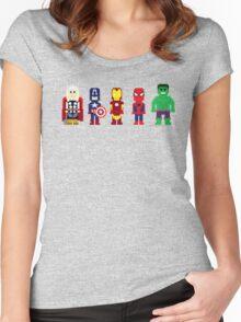 8-Bit Super Heroes! Women's Fitted Scoop T-Shirt