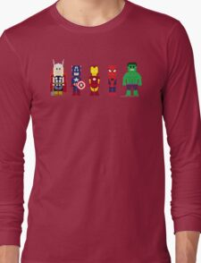 8-Bit Super Heroes! Long Sleeve T-Shirt
