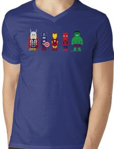 8-Bit Super Heroes! Mens V-Neck T-Shirt